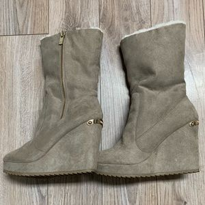 Juicy Couture Tan Wedge Boots